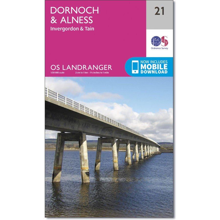 LR-021  Dornoch, Alness, Invergordon + Tain   topografische wandelkaart 9780319261194  Ordnance Survey Landranger Maps 1:50.000  Wandelkaarten de Schotse Hooglanden (ten noorden van Glasgow / Edinburgh)