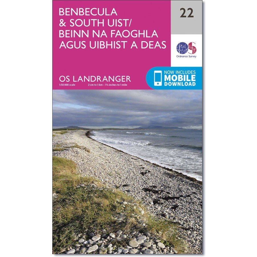 LR-022  Benbecula + South Uist   topografische wandelkaart 9780319261200  Ordnance Survey Landranger Maps 1:50.000  Wandelkaarten Skye & the Western Isles