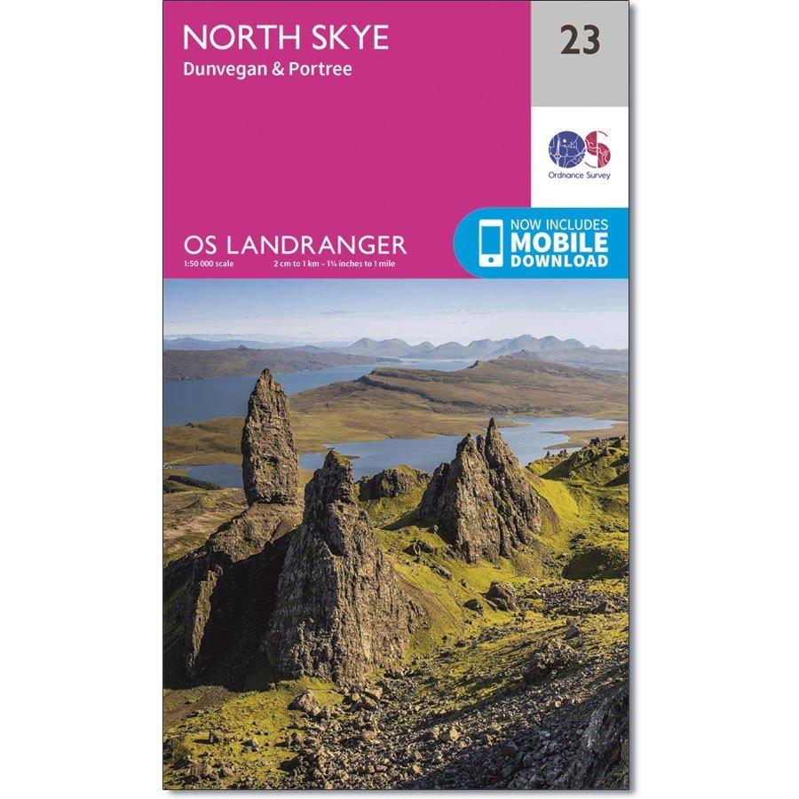 LR-023  North Skye, Dunvegan, Portree | topografische wandelkaart 9780319261217  Ordnance Survey Landranger Maps 1:50.000  Wandelkaarten Skye & the Western Isles