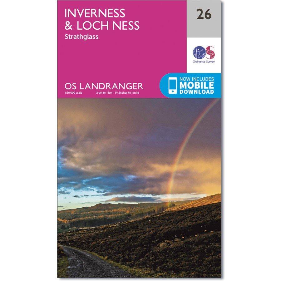 LR-026  Inverness + Strathglass | topografische wandelkaart 9780319261248  Ordnance Survey Landranger Maps 1:50.000  Wandelkaarten de Schotse Hooglanden (ten noorden van Glasgow / Edinburgh)