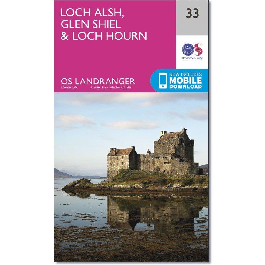 LR-033  Loch Alsh, Glen Shiel, Loch Hourn | topografische wandelkaart 9780319261316  Ordnance Survey Landranger Maps 1:50.000  Wandelkaarten de Schotse Hooglanden (ten noorden van Glasgow / Edinburgh)