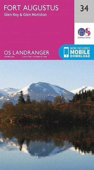 LR-034  Fort Augustus + Glen Albyn, Glen Roy | topografische wandelkaart 9780319261323  Ordnance Survey Landranger Maps 1:50.000  Wandelkaarten Schotland