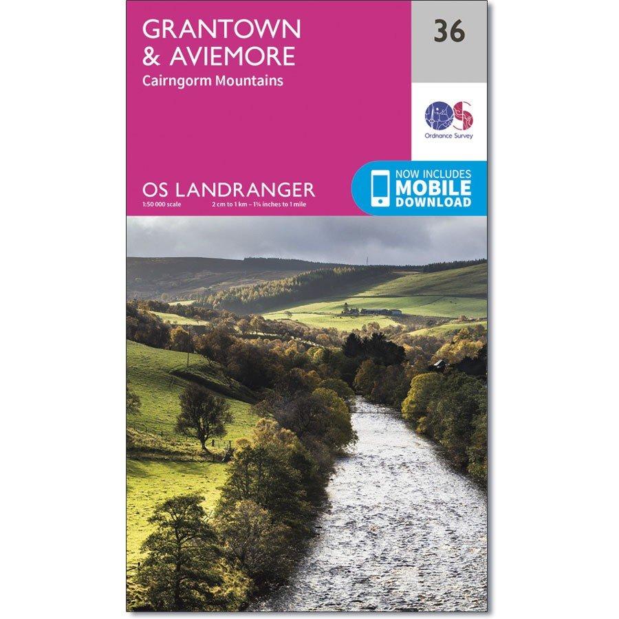 LR-036  Grantown, Aviemore & Cairngorm | topografische wandelkaart 9780319261347  Ordnance Survey Landranger Maps 1:50.000  Wandelkaarten Schotland