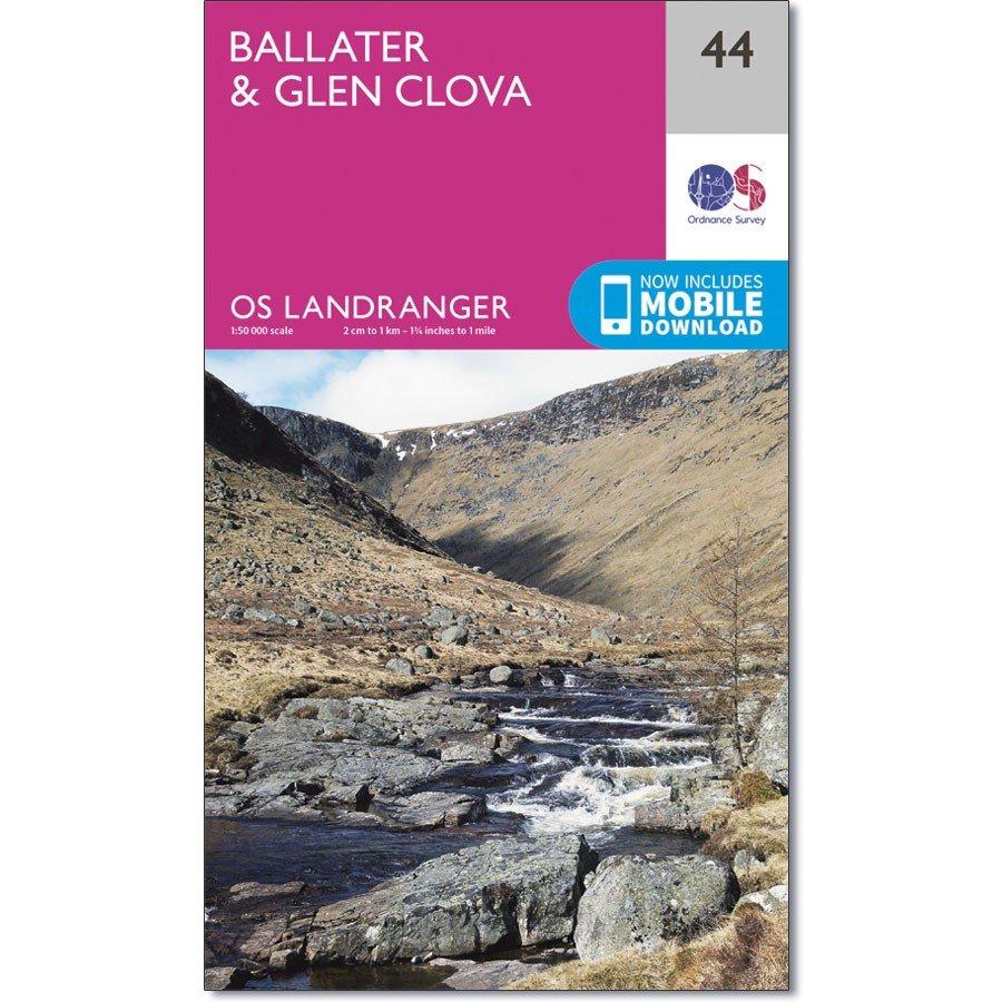 LR-044  Ballater, Glen Clova | topografische wandelkaart 9780319261422  Ordnance Survey Landranger Maps 1:50.000  Wandelkaarten de Schotse Hooglanden (ten noorden van Glasgow / Edinburgh)