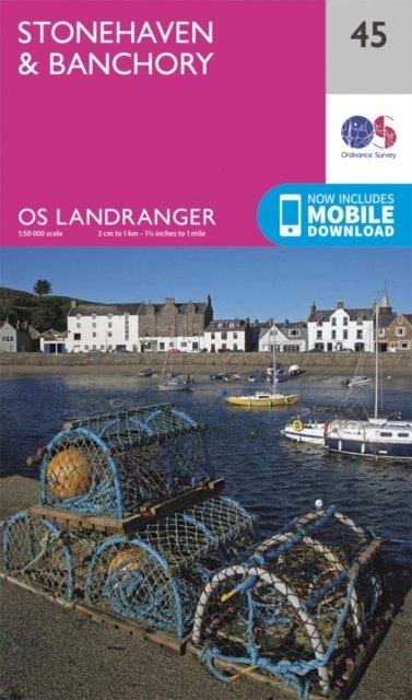 LR-045  Stonehaven, Banchory   topografische wandelkaart 9780319261439  Ordnance Survey Landranger Maps 1:50.000  Wandelkaarten Schotland