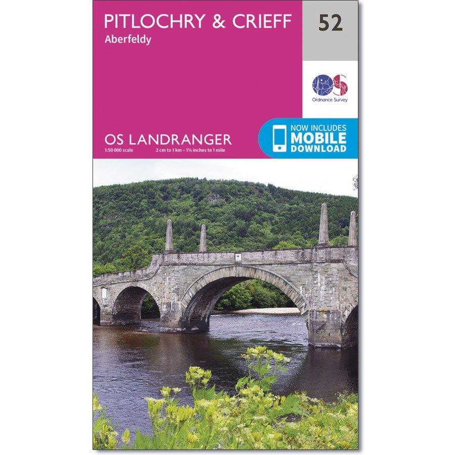 LR-052  Pitlochry to Crieff | topografische wandelkaart 9780319261507  Ordnance Survey Landranger Maps 1:50.000  Wandelkaarten de Schotse Hooglanden (ten noorden van Glasgow / Edinburgh)
