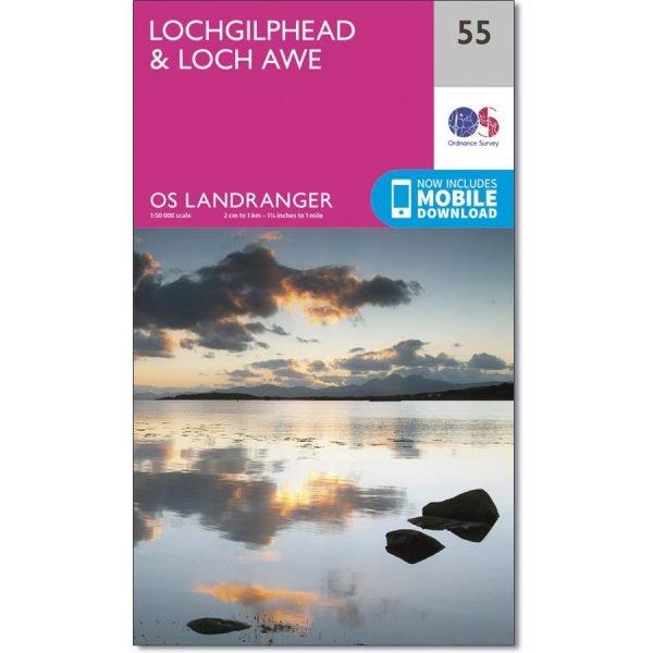LR-055  Lochgilphead, Loch Awe   topografische wandelkaart 9780319261538  Ordnance Survey Landranger Maps 1:50.000  Wandelkaarten de Schotse Hooglanden (ten noorden van Glasgow / Edinburgh)