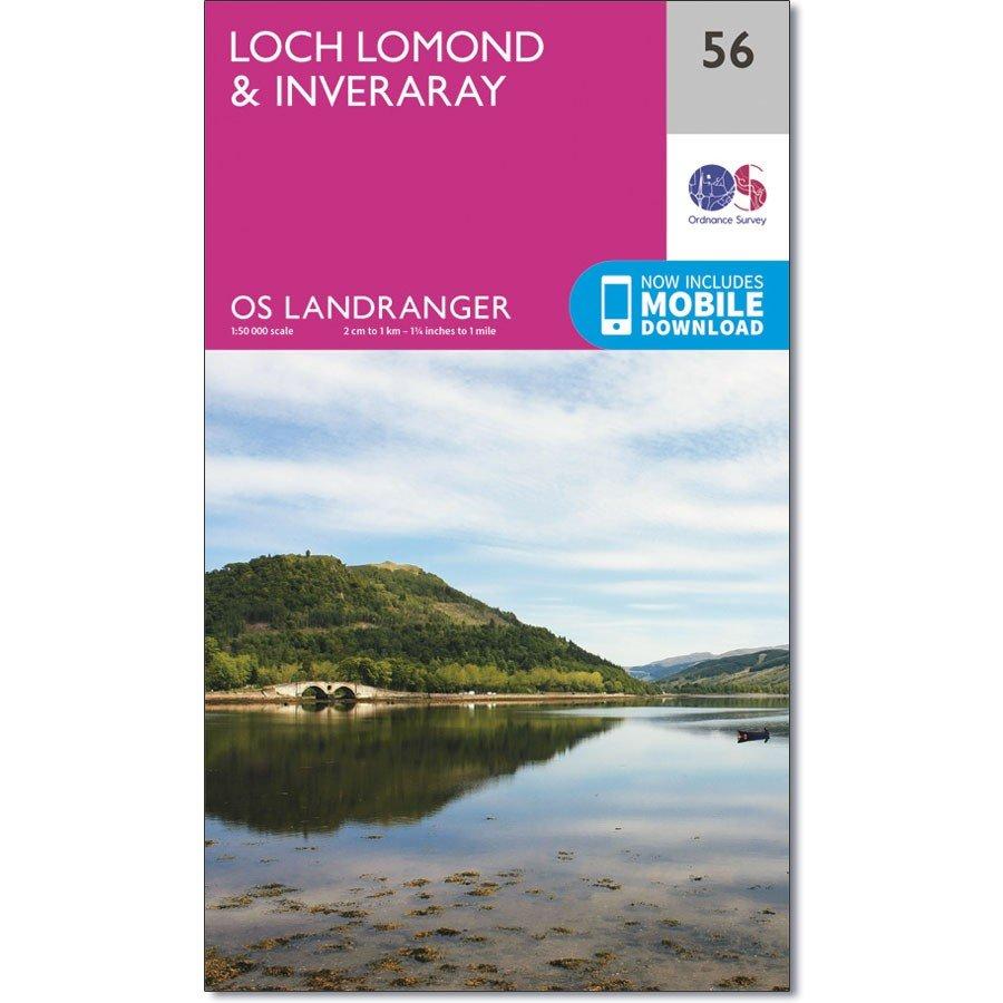 LR-056  Loch Lomond, Inveraray | topografische wandelkaart 9780319261545  Ordnance Survey Landranger Maps 1:50.000  Wandelkaarten de Schotse Hooglanden (ten noorden van Glasgow / Edinburgh)