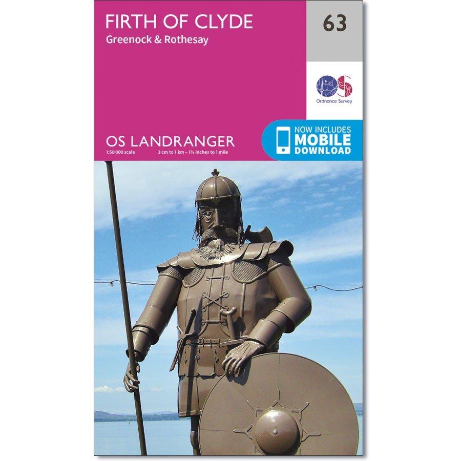 LR-063  Firth of Clyde Area | topografische wandelkaart 9780319261613  Ordnance Survey Landranger Maps 1:50.000  Wandelkaarten de Schotse Hooglanden (ten noorden van Glasgow / Edinburgh)