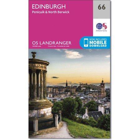 LR-066  Edinburgh, Penicuik + North Berwick | topografische wandelkaart 9780319261644  Ordnance Survey Landranger Maps 1:50.000  Wandelkaarten Edinburgh