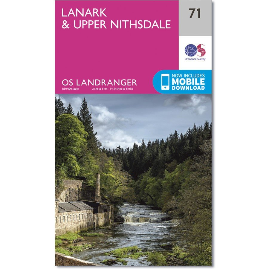 LR-071  Lanark + Upper Nithsdale | topografische wandelkaart 9780319261699  Ordnance Survey Landranger Maps 1:50.000  Wandelkaarten Schotland