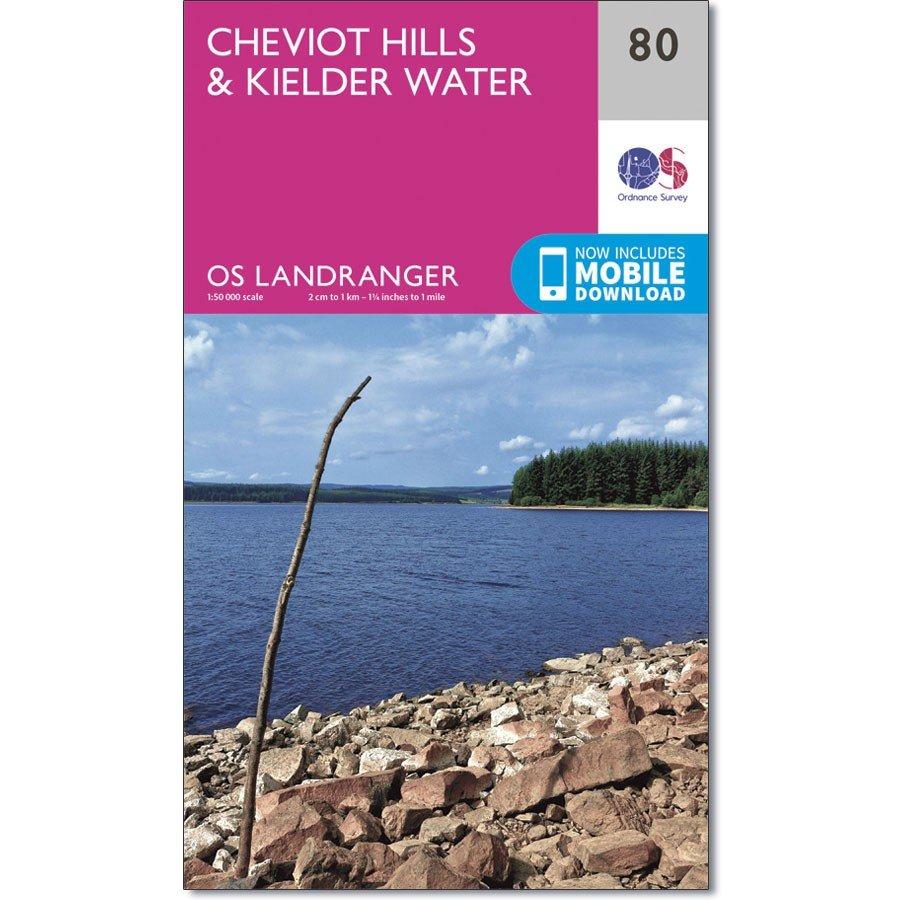 LR-080  Cheviot Hills + Kielder Forest | topografische wandelkaart 9780319261781  Ordnance Survey Landranger Maps 1:50.000  Wandelkaarten Noord-Engeland
