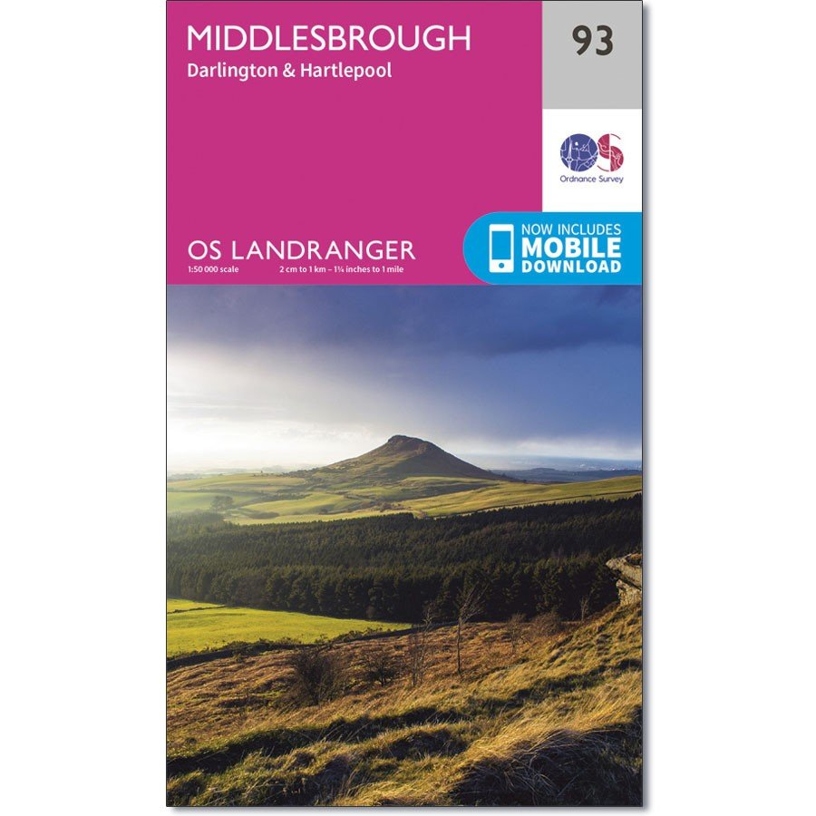 LR-093  Middlesbrough + Darlington, Hartlepool   topografische wandelkaart 9780319261910  Ordnance Survey Landranger Maps 1:50.000  Wandelkaarten Noord-Engeland