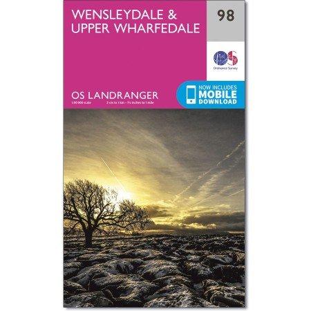 LR-098  Wensleydale + Upper Wharfedale   topografische wandelkaart 9780319261965  Ordnance Survey Landranger Maps 1:50.000  Wandelkaarten Noord-Engeland