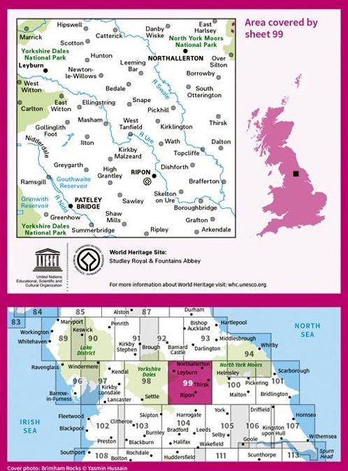 LR-099  Northallerton, Ripon, Pateley   topografische wandelkaart 9780319261972  Ordnance Survey Landranger Maps 1:50.000  Wandelkaarten Noord-Engeland