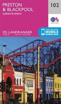 LR-102  Preston, Blackpool | topografische wandelkaart 9780319262009  Ordnance Survey Landranger Maps 1:50.000  Wandelkaarten Noord-Engeland