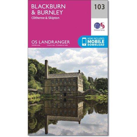 LR-103  Blackburn, Burnley   topografische wandelkaart 9780319262016  Ordnance Survey Landranger Maps 1:50.000  Wandelkaarten Noord-Engeland