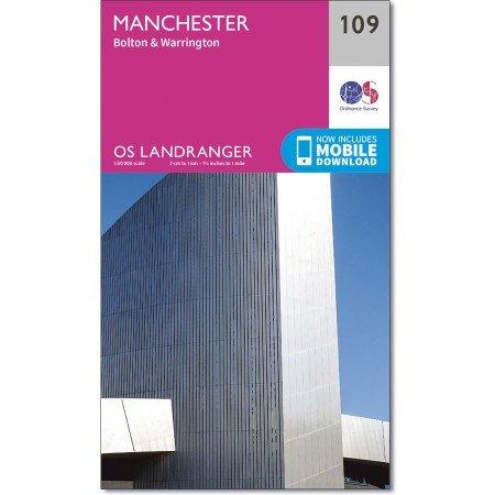 LR-109  Manchester, Bolton + Warrington | topografische wandelkaart 9780319262078  Ordnance Survey Landranger Maps 1:50.000  Wandelkaarten Midden- en Oost-Engeland