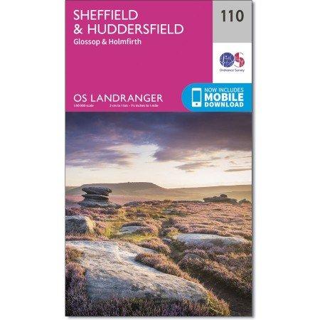 LR-110 Sheffield + Huddersfield, Glossop,Holmfirth | topografische wandelkaart 9780319262085  Ordnance Survey Landranger Maps 1:50.000  Wandelkaarten Midden- en Oost-Engeland