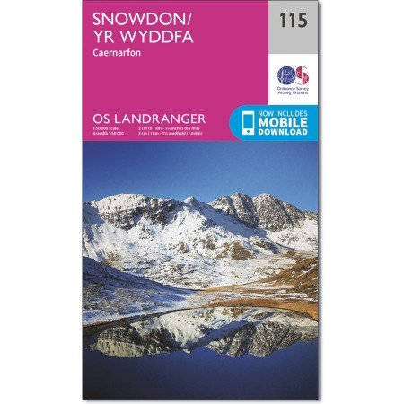 LR-115  Snowdon & surroundings   topografische wandelkaart 9780319262139  Ordnance Survey Landranger Maps 1:50.000  Wandelkaarten Noord-Wales, Anglesey, Snowdonia