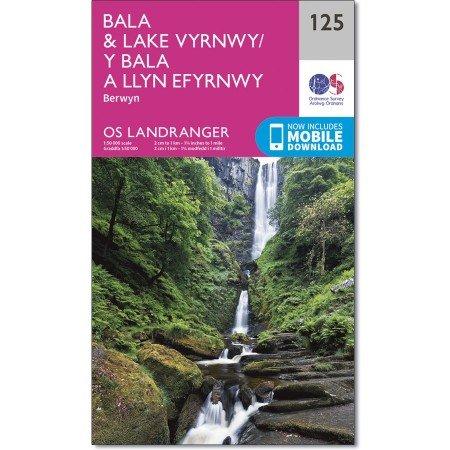 LR-125  Bala + Lake Vyrnwy, Berwyn | topografische wandelkaart 9780319262238  Ordnance Survey Landranger Maps 1:50.000  Wandelkaarten Noord-Wales, Anglesey, Snowdonia
