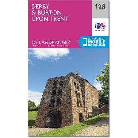 LR-128  Derby | topografische wandelkaart 9780319262269  Ordnance Survey Landranger Maps 1:50.000  Wandelkaarten Midden- en Oost-Engeland