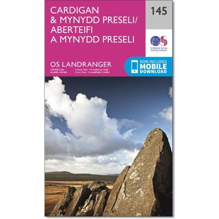 LR-145  Cardigan, Mynydd Preseli | topografische wandelkaart 9780319262436  Ordnance Survey Landranger Maps 1:50.000  Wandelkaarten Zuid-Wales, Pembrokeshire, Brecon Beacons
