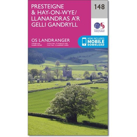 LR-148  Presteigne + Hay-on-Wye | topografische wandelkaart 9780319262467  Ordnance Survey Landranger Maps 1:50.000  Wandelkaarten Zuid-Wales, Pembrokeshire, Brecon Beacons