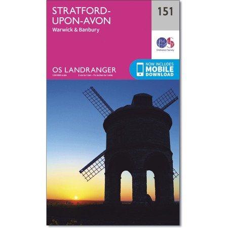 LR-151  Stratford-upon-Avon, Warwick + Banbury | topografische wandelkaart 9780319262498  Ordnance Survey Landranger Maps 1:50.000  Wandelkaarten Midlands, Cotswolds, Oxford