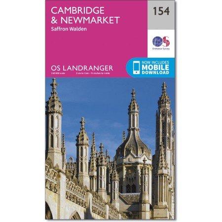 LR-154  Cambridge, Newmarket | topografische wandelkaart 9780319262528  Ordnance Survey Landranger Maps 1:50.000  Wandelkaarten Midden- en Oost-Engeland