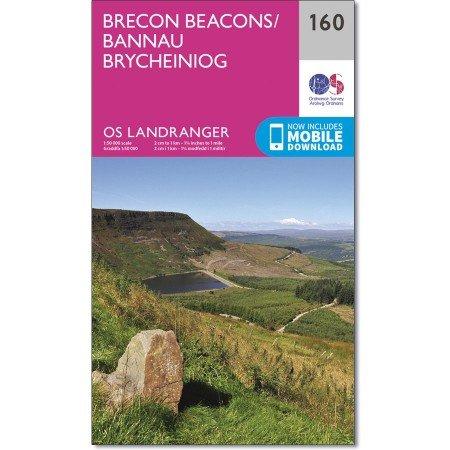 LR-160  Brecon Beacons | topografische wandelkaart 9780319262580  Ordnance Survey Landranger Maps 1:50.000  Wandelkaarten Wales