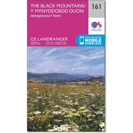 LR-161 The Black Mountains | topografische wandelkaart 9780319262597  Ordnance Survey Landranger Maps 1:50.000  Wandelkaarten Wales
