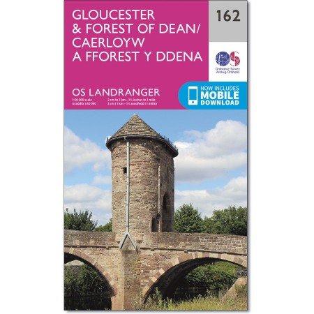 LR-162  Gloucester + Forest of Dean | topografische wandelkaart 9780319262603  Ordnance Survey Landranger Maps 1:50.000  Wandelkaarten Midlands, Cotswolds, Oxford, Zuid-Wales, Pembrokeshire, Brecon Beacons