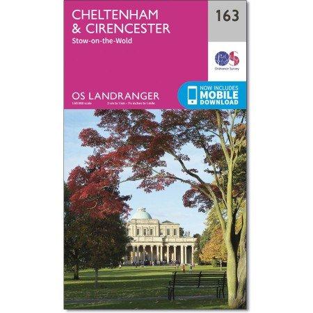LR-163  Cheltenham + Cirenster | topografische wandelkaart 9780319262610  Ordnance Survey Landranger Maps 1:50.000  Wandelkaarten Midden- en Oost-Engeland