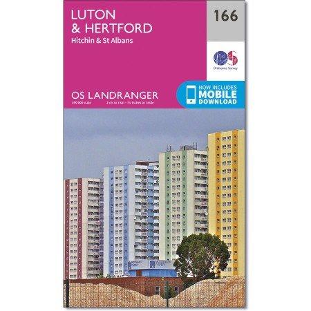 LR-166  Luton, Hertford | topografische wandelkaart 9780319262641  Ordnance Survey Landranger Maps 1:50.000  Wandelkaarten Zuidoost-Engeland