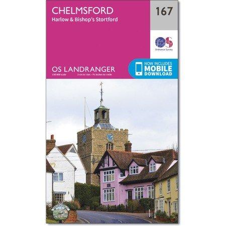 LR-167  Chelmsford | topografische wandelkaart 9780319262658  Ordnance Survey Landranger Maps 1:50.000  Wandelkaarten Zuidoost-Engeland