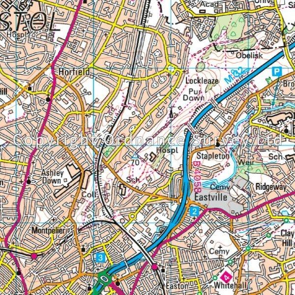 LR-172  Bristol, Bath | topografische wandelkaart 9780319262702  Ordnance Survey Landranger Maps 1:50.000  Wandelkaarten Midlands, Cotswolds, Oxford