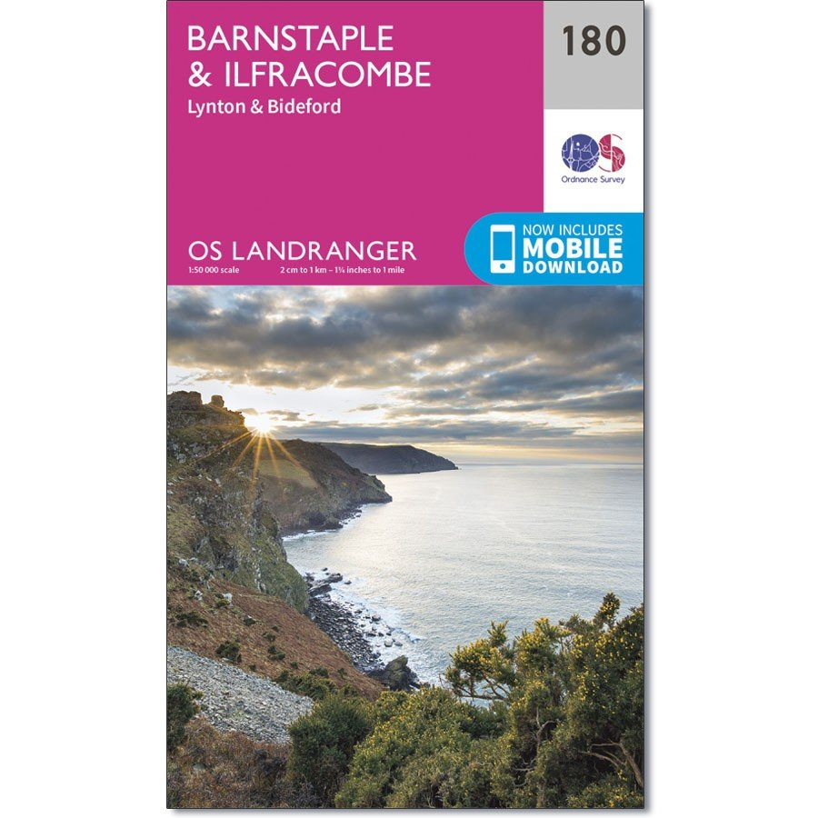 LR-180  Barnstaple + Ilfracombe   topografische wandelkaart 9780319262788  Ordnance Survey Landranger Maps 1:50.000  Wandelkaarten Zuidwest-Engeland