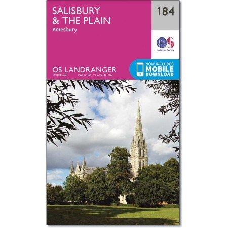 LR-184  Salisbury + The Plain | topografische wandelkaart 9780319262825  Ordnance Survey Landranger Maps 1:50.000  Wandelkaarten Zuidwest-Engeland