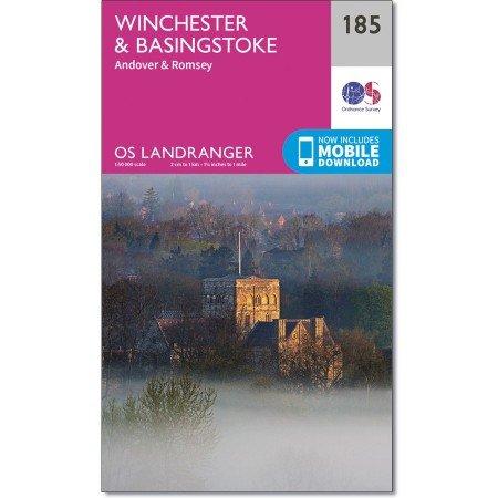 LR-185  Winchester, Basingstoke | topografische wandelkaart 9780319262832  Ordnance Survey Landranger Maps 1:50.000  Wandelkaarten Zuidoost-Engeland