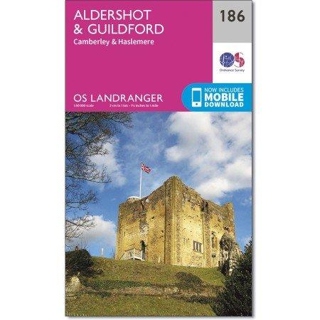 LR-186  Aldershot, Guildford | topografische wandelkaart 9780319262849  Ordnance Survey Landranger Maps 1:50.000  Wandelkaarten Zuidoost-Engeland