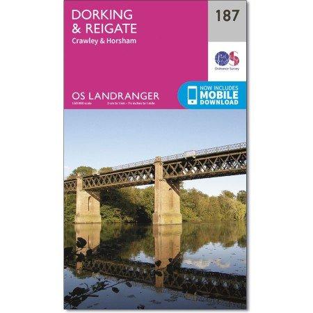 LR-187  Dorking, Reigate | topografische wandelkaart 9780319262856  Ordnance Survey Landranger Maps 1:50.000  Wandelkaarten Zuidoost-Engeland