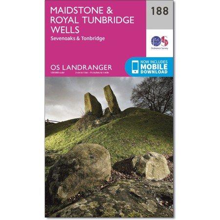 LR-188  Maidstone, The Weald of Kent | topografische wandelkaart 9780319262863  Ordnance Survey Landranger Maps 1:50.000  Wandelkaarten Zuidoost-Engeland