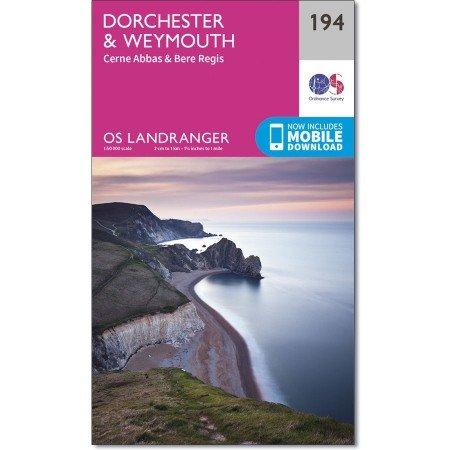 LR-194  Dorchester, Weymouth | topografische wandelkaart 9780319262924  Ordnance Survey Landranger Maps 1:50.000  Wandelkaarten Zuidwest-Engeland