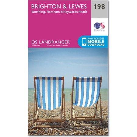 LR-198  Brighton + The Downs | topografische wandelkaart 9780319262962  Ordnance Survey Landranger Maps 1:50.000  Wandelkaarten Zuidoost-Engeland