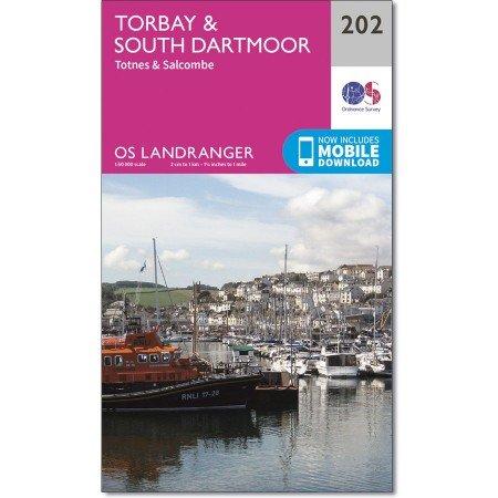 LR-202  Torbay + South Dartmoor | topografische wandelkaart 9780319263006  Ordnance Survey Landranger Maps 1:50.000  Wandelkaarten Zuidwest-Engeland
