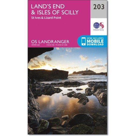LR-203  Land's End, Isles of Scilly   topografische wandelkaart 9780319263013  Ordnance Survey Landranger Maps 1:50.000  Wandelkaarten Zuidwest-Engeland, Cornwall, Devon, Somerset, Dorset