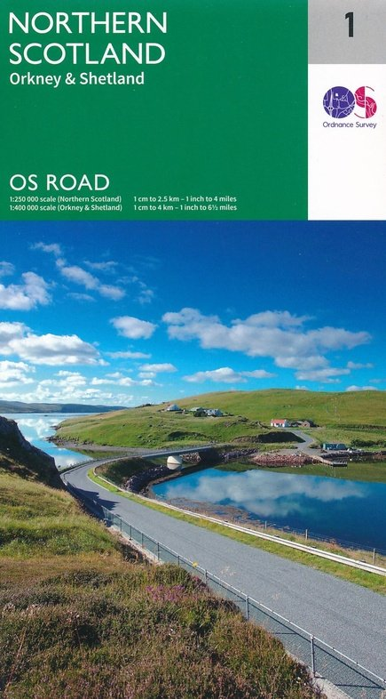 RM-1  Northern Scotland, wegenkaart Noord-Schotland 9780319263433  Ordnance Survey Road Map 1:250.000  Landkaarten en wegenkaarten de Schotse Hooglanden (ten noorden van Glasgow / Edinburgh), Shetland & Orkney