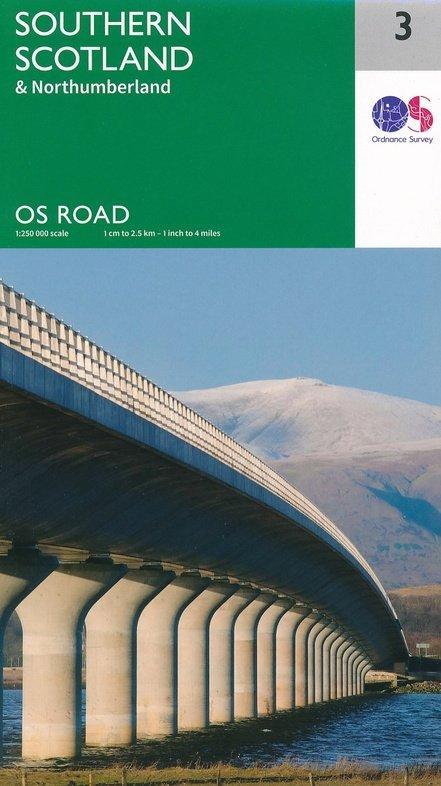 RM-3  Southern Scotland, wegenkaart Zuid-Schotland 9780319263457  Ordnance Survey Road Map 1:250.000  Landkaarten en wegenkaarten Noord-Engeland, Schotland