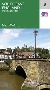 RM-8 South East England, wegenkaart Zuidoost-Engeland 9780319263501  Ordnance Survey Road Map 1:250.000  Landkaarten en wegenkaarten Zuidoost-Engeland, Kent, Sussex, Isle of Wight
